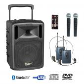 Sono portable CD MP3+USB+DIVX+2 micros main+body pack+bluetooth- be 9208 pt abs