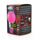 Ampoule LED B22 1W Rose