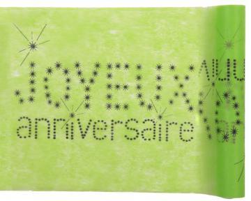 Chemin de table joyeux anniversaire vert anis