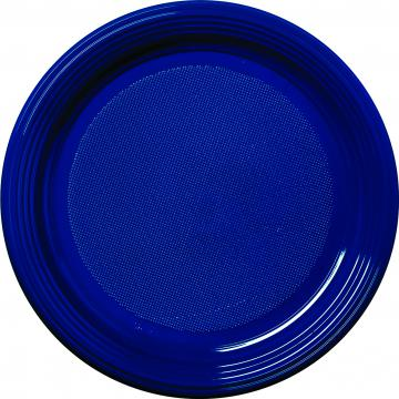 30 assiettes plastique bleu marine