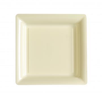 Assiettes carrées à dessert ivoire