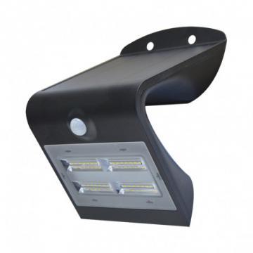 Applique Murale LED Solaire 3.2W 4000K Noir + Détecteur