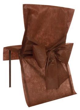 Housse de Chaise Mariage avec Noeud Chocolat