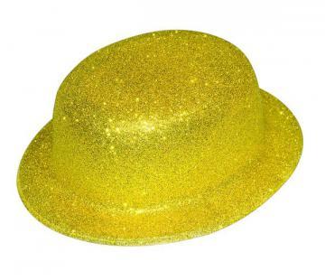 Chapeau melon pailleté or