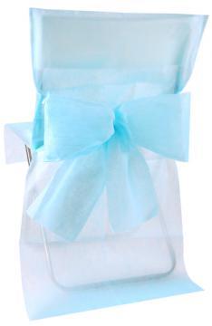Housse de Chaise Mariage avec Noeud Bleu Ciel