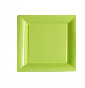 Assiettes carrées à dessert vert anis