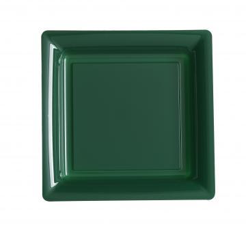Assiettes carrées à dessert vert sapin