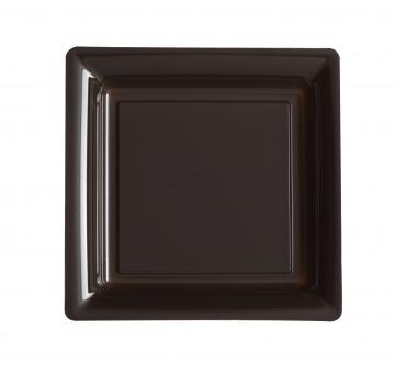 Assiettes carrées à dessert chocolat