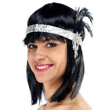bandeau charleston argent plumes noires