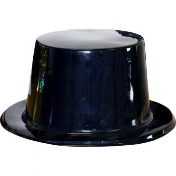 Chapeau haut de forme pvc noir