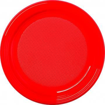 30 assiettes plastique rouge