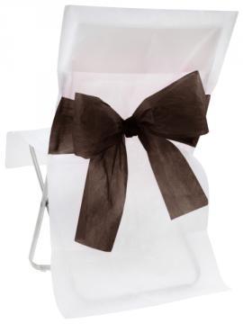 Housse de Chaise Mariage bicolore avec Noeud Noir