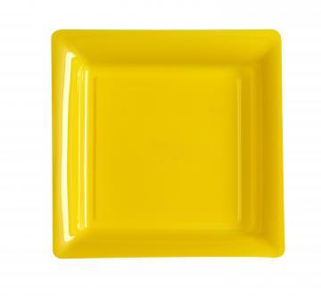 Assiettes carrées à dessert jaune