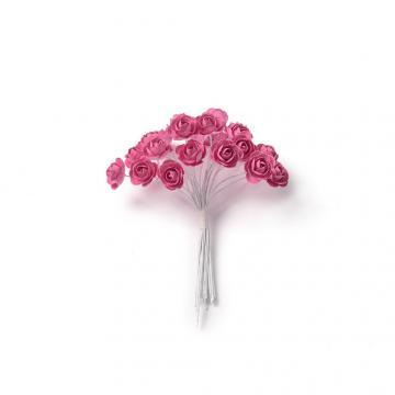24 mini roses fuschia sur tige