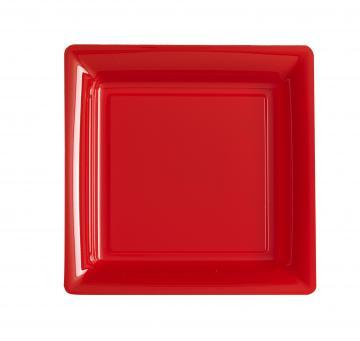 Assiettes carrées à dessert rouge