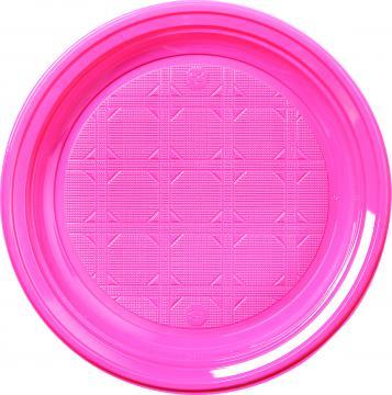 30 assiettes plastique rose