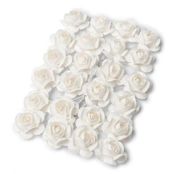 24 mini roses blanches sur tige