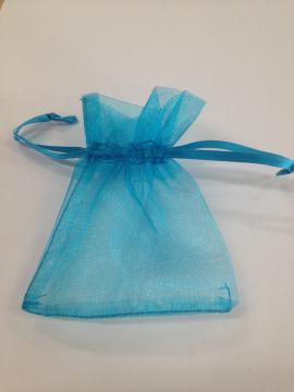5 pochons organza turquoise
