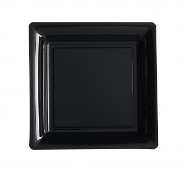 Assiettes carrées à dessert noires