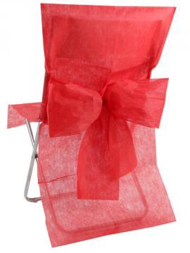Housse de Chaise Mariage avec Noeud Rouge