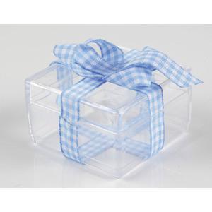 3 boîtes carrées pvc + noeud bleu et blanc