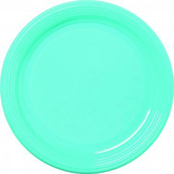 30 assiettes plastique bleu